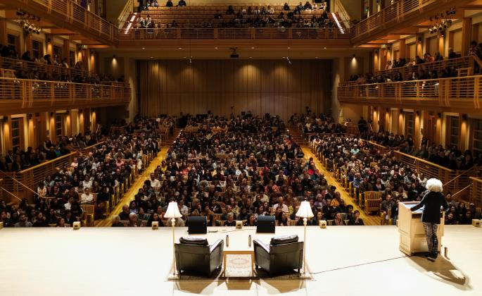 Angela Davis speaking to a full house at the Green Music Center